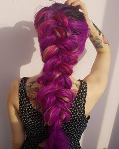 Vibrant thick purple braid by - try our Plum Purple + Fuchsia Pink for a similar style! Vibrant Hair Colors, New Hair Colors, Cool Hair Color, Loose Hairstyles, Wedding Hairstyles, Plum Purple Hair, Magenta Wedding, Latest Hair Color, Medium Long Hair