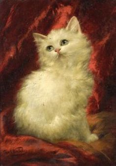 Austrian/American 19th/20th century oil painting of a white kitten by Carl Kahler. Sold for $3,055 (Sale 2236, Lot 330)