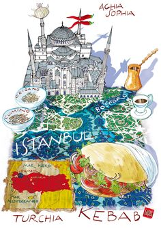 Istanbul map with Kebab Istanbul Map, Istanbul Travel, Istanbul Kebab, Visit Istanbul, Turkey Culture, Travel Sketchbook, Travel Scrapbook, Vintage Travel Posters, Illustrations Posters