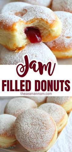 Jam Filled Donuts Homemade Recipe With Strawberry Jam Make an easy and simple but yummylicious treat that both kids and adults will love with this foolproof jam filled donuts recipe! Nothing beats a classic dessert! Jam Doughnut Recipe, Homemade Doughnut Recipe, Jam Donut, Baked Donut Recipes, Jam Recipes, Homemade Recipe, Light And Fluffy Doughnut Recipe, Simple Donut Recipe, Baked Donuts