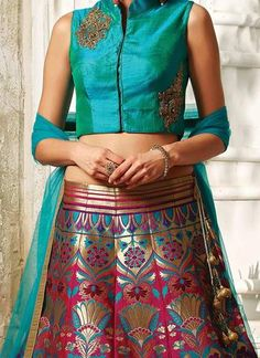 Pink & Blue Banarasi Silk Brocade Lehenga Choli ,Indian Dresses - 2