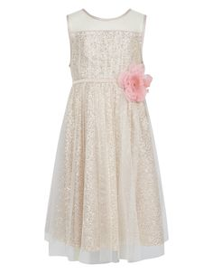 (I don't like the flower in pink, but if they could change the color, I'd be more into this) Savina Sequin Corsage Dress | Gold | Monsoon