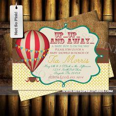 Vintage Hot Air Balloon Invitation by NotSoPinkDesigns on Etsy https://www.etsy.com/listing/224376629/vintage-hot-air-balloon-invitation