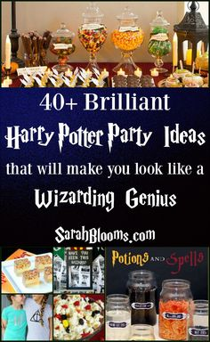Harry Potter is a classic movie + theme that will never go out of style. Throw the best Harry Potter Party ever with this ultimate list of party ideas! Baby Harry Potter, Harry Potter Baby Shower, Harry Potter Motto Party, Harry Potter Thema, Harry Potter Halloween Party, Theme Harry Potter, Harry Potter Christmas, Harry Potter Movies, Harry Potter Drinking Games