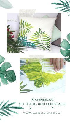 Habt ihr einen alten Kissenbezug zuhause, der einen neuen Look vertragen könnte? Nichts leichter als das mit unseren Textilfarben 😍 Bringt den Sommer zu euch nach Hause und gestaltet euer Wohnzimmer im frischen Look 🌞 Plant Leaves, Plants, Diy, Basteln, Good Times, New Looks, Cushion, Ad Home, Summer