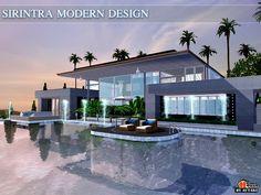 Sirintra Modern design house by autaki for Sims 3 The Sims Houses, Sims 3 Houses Plans, Sims 3 Houses Ideas, Sims 4 Houses Layout, House Layouts, Sims Ideas, Sims 4 Modern House, Sims 4 House Design, Casas The Sims 3