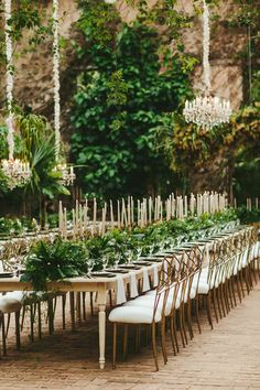 A Greenery-Filled Hawaiian Wedding in a Historic Sugar Mill Outdoor Wedding Tables, Long Table Wedding, Wedding Reception, Wedding Venues, Lgbt Wedding, Outdoor Weddings, Reception Table, Wedding Bells, Reception Decorations