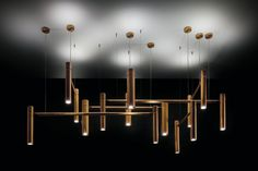 Cieling Tubular Light Dimmable energy saving led Pendant light, GU10 (energy efficiency index A) 5,3W 350Lumen 3000Kelvin leds pointing upward and downward, body Ø 7 cm and Ø 10 cm Finish Brass hand-burnished using traditional techniques.