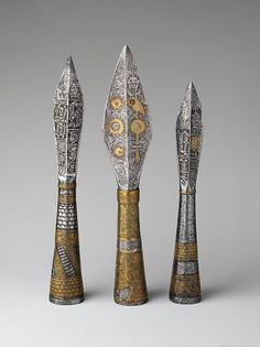 Three Ceremonial Arrowheads Date: 1437–39 Culture: Bohemian, possibly Prague Medium: Steel, copper alloy Classification: Archery Equipment-Arrows & Quivers