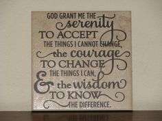 Serenity Prayer, Decorative Tile, Plaque, sign, with vinyl saying, quote