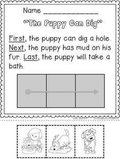 SEQUENCING with FIRST, NEXT, LAST - CUT AND PASTE, NARRATIVE WRITING for Kindergarten