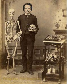 Edgar Allan Poe Art Print 8 x 10 - With Skeleton - Altered Art - Goth - Skull