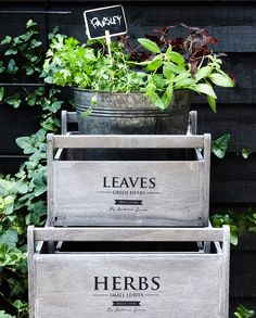 Wooden boxes with elegant letterings make unique storage possibilities. In stores now. Prices from DKK 6800 / SEK 9400 / NOK 9800 / EUR / GBP Outdoor Spaces, Outdoor Living, Terrace Garden, Herb Garden, Black Garden, I Coming Home, Small Leaf, Dream Garden, Black House