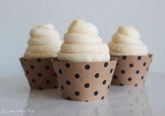 Black Polka Dot Kraft Paper Cupcake Wrappers -Set Of 6, 12,18,24+