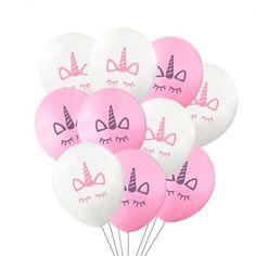 Rosa og hvite enhjørning ballonger, 10 stk