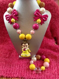 Disney inspired Beauty and the Beast Belle chunky bubblegum necklace and bracelet set with bow beads/princess party by Glitznglamorgirl on Etsy https://www.etsy.com/listing/246879255/disney-inspired-beauty-and-the-beast
