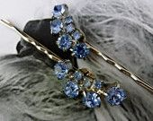 Decorative Bridal 50's Baby Blue Weiss Rhinestone Hair Pins, Vintage Recycled #EasyPin