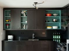 Light fixture, turquoise cabinet: Modern Kitchen Photos Design Ideas, Pictures, Remodel, and Decor - page 4