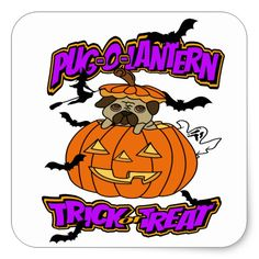 Halloween Pug-o-Lantern Pug Stickers #halloween #holiday #creepyhollow #stickers