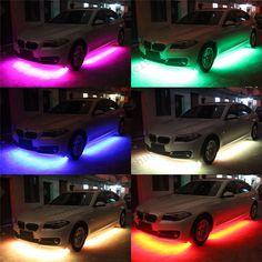 8 Color LED Strip Under Car Tube Underglow Underbody System Neon Lights Kit Honda Accord Accessories, Custom Car Accessories, Car Accessories For Guys, Control, Cool Car Gadgets, Custom Pickup Trucks, Car Lights, Led Lights For Cars, Car Interior Decor