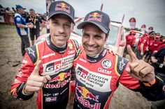 What an amazing event #Dakar2018 has been for #ToyotaGazooRacingSA. The guys from #TeamHilux brought two of our three cars safely to the finish - but more than that, two of the three podium positions belonged to the team. Nasser Al Attiyah and Mathieu Baumel finished in second place; with Giniel de Villiers and Dirk von Zitzewitz taking third place. It was a stunning performance, and clearly showed just how tougher-er the new Dakar Toyota Hilux is. Toyota Hilux, Third, Bring It On, Baseball Cards, Cars, Amazing, Sports, Hs Sports, Autos