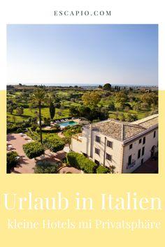 Urlaub in Italien - eine Menge Möglichkeiten und die Qual der Wahl zwischen der idyllischen Toskana, der prachtvollen Gondelstadt Venedig, des malerischen Gardasees und der traumhaften Amalfiküste. Dieses Land bietet einiges aber vor allem den Urlaub deiner Träume, wer im Urlaub so richtig runterkommen möchte findet bei Escapio genau das richtige. Italy, Mansions, House Styles, Beautiful, Small Hotels, Lake Garda, Tuscany, Venice Italy, Italia