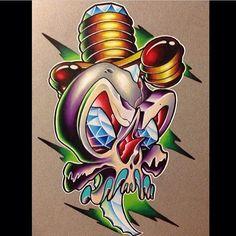 3d Leg Tattoos, Old Tattoos, Skull Tattoos, Rose Outline Tattoo, Skull Tattoo Flowers, Diamond Tattoo Designs, Owl Tattoo Design, Graffiti Drawing, Graffiti Art