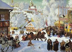 Картина Кустодиева Масленица