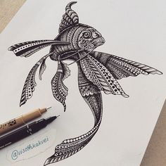 Examples of Zentangle Project Doodles Zentangles, Zentangle Drawings, Zentangle Patterns, Fish Zentangle, Zentangle Animal, Doodle Art Drawing, Mandala Drawing, Mandala Art, Fish Drawings