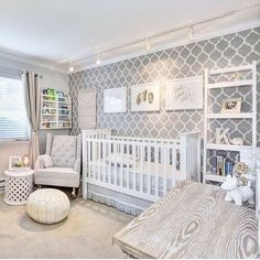 """Pretty! We love this stenciled wall in this darling, gender neutral nursery.  Thanks for sharing with us, @Mahal219. Want to be featured? Tag…"""