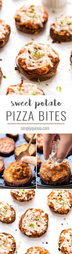 The HEALTHIEST twist on pizza ever! These SWEET POTATO PIZZA BITES are perfectly roasted, then topped with a lentil bolognese for a little perfect appetizer!