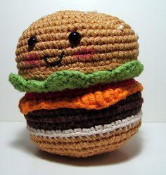 Ravelry: No Sew Amigurumi Hamburger with Cheese pattern by Emjay Bailey