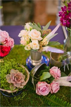 Baby roses in bud vases as wedding reception table decor. Captured By: Lindsey Orton #weddingchicks http://www.weddingchicks.com/2014/06/13/accent-your-wedding-with-radiant-orchid/