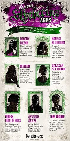 Official Harry Potter Pottermore Infographic - Famous Slytherins Through the Ages -- Wayne, Designer, Illustrator, Art Director and 3D Enthusiast working at Beyond in London.
