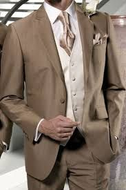 Light brown wedding suit with champagne metallic tie and pocket square