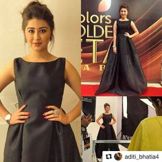 "1,005 Likes, 25 Comments - Flyrobe (@flyrobe) on Instagram: ""@aditi_bhatia4 looked stunning in this black gown from @flyrobe at the @colorstv golden petal…"""