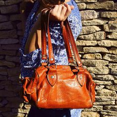 Mustard brown leather bag, Brown leather handbag, Brown leather bag from Tunesia