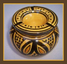 Moroccan Handmade Two-Piece Ceramic Small Ashtray by Treasures of Morocco Treasures of Morocco