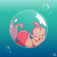 Baby mermaid in a bubble sleeping. Baby mermaid in a bubble sleeping. Fantasy Mermaids, Real Mermaids, Mermaids And Mermen, Baby Mermaid, Mermaid Art, The Little Mermaid, Vintage Mermaid, Mermaid Tails, Doodle Drawing