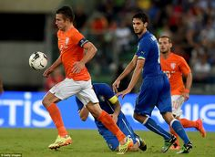 Off target: Robin van Persie (left) missed some key opportunities for Holland as they lost. Robin Van, Van Persie, Sports Personality, World Cup, Victorious, Holland, Football, Italy, Running