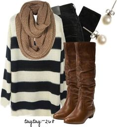 WHAT: Slouchy sweater, infinity scarf, skinny jeans, boots and earrings. WHERE: Pinterest WHY: Slouchy sweaters are so comfy! Skinnies are a must when wearing them with boots. I love the earrings to dress it up a bit.
