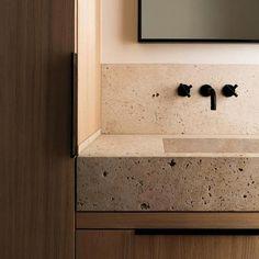 Stone bathroom sink on a wood vanity, great example of biophilic design. - Stone bathroom sink on a wood vanity, great example of biophilic design. Stone Bathroom, Diy Bathroom, Stone Walls Interior, Bathroom Interior Design, Master Bathroom Design, Modern Bathroom Design, Bathroom Makeover, Amazing Bathrooms, Stone Bathroom Sink