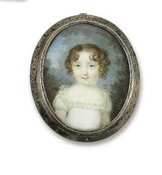 Charles-Pierre Cior, Portrait of a little girl in white dress with lace trim, ca.1810