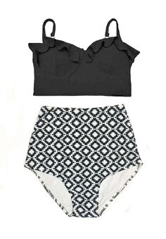Black Underwire Underwired Midkini Top and Monochrome Graphic  High Waisted Waist Bikini set Swimsuit Swimwear Bathing suit suits S M L XL by venderstore on Etsy