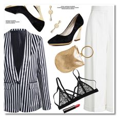 """Striped blazer"" by paculi ❤ liked on Polyvore featuring Alexander McQueen and Otaat/Myers Collective"