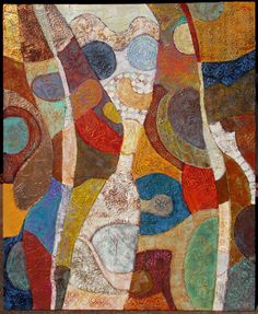 highly textured, mixed media vibrant abstract painting.  Kara Michael Freeman art