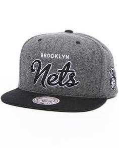 8ec4aeaeb79 Brooklyn Nets NBA Melton Wool Script Snapback Hat by Mitchell   Ness  Snapback Hats