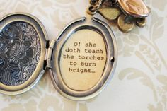 Shakespeare Quote Locket - Women's Locket - Romeo and Juliet - o she doth teach the torches to burn bright