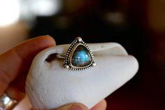 Sterling Silver Labradorite Ring; Natural Gemstone Size 5 3/4