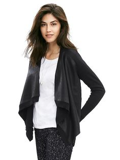 Faux-Leather Open Cardigan